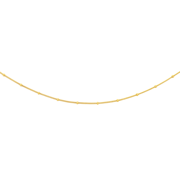 9ct Gold 48cm Beaded Curb Chain