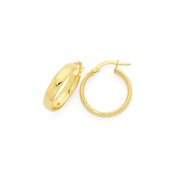 9ct Gold 4x15mm Half Round Hoop Earrings