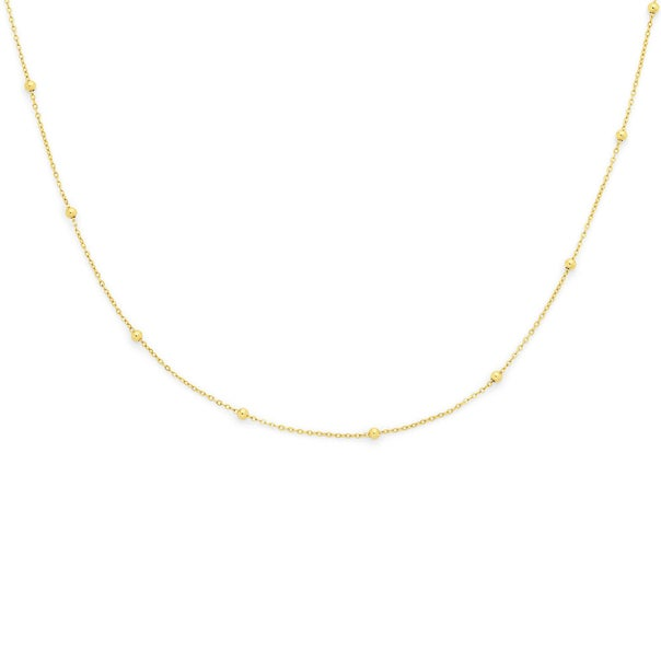 9ct Gold 50cm Solid Beaded Curb Chain