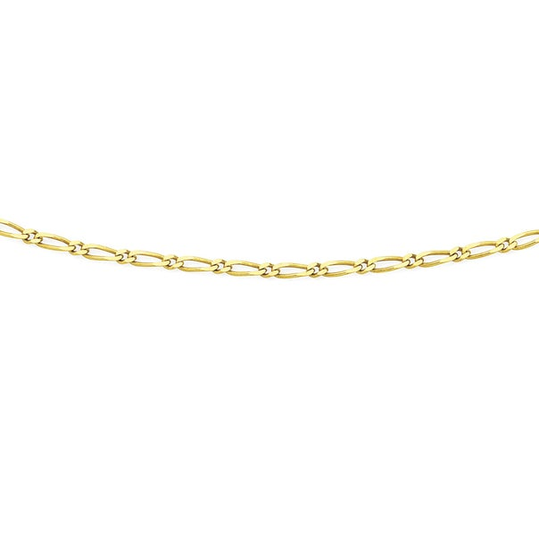 9ct Gold 50cm Solid Figaro 1+1 Chain