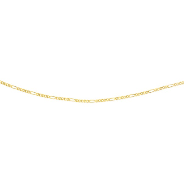 9ct Gold 50cm Solid Figaro 5+1 Chain