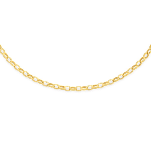 9ct Gold 50cm Solid Oval Belcher Chain