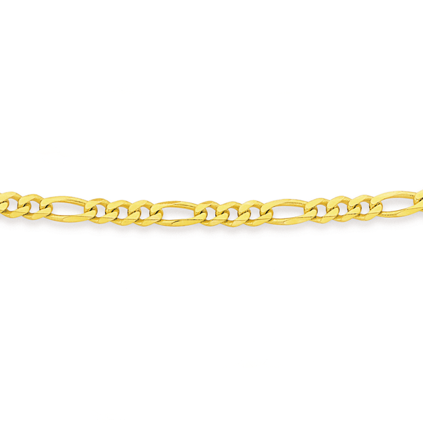 9ct Gold 55cm Solid Figaro 3+1 Chain
