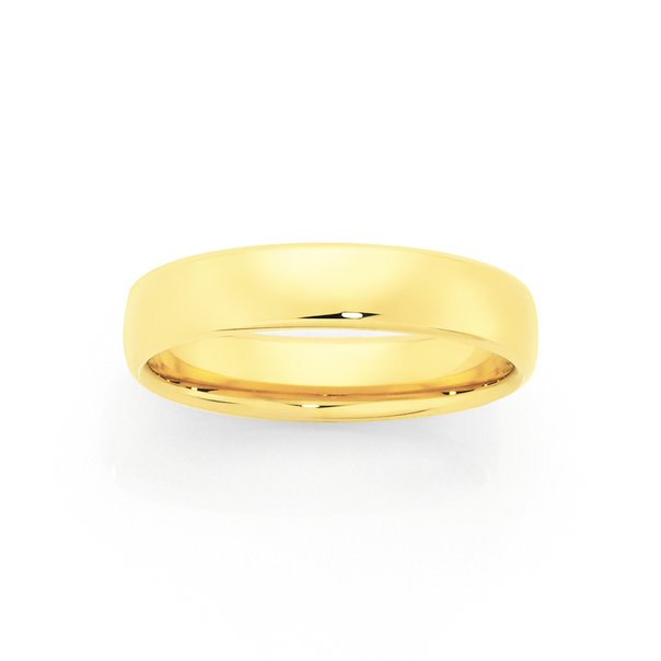 9ct Gold 5mm Comfort Wedding Ring - Size R
