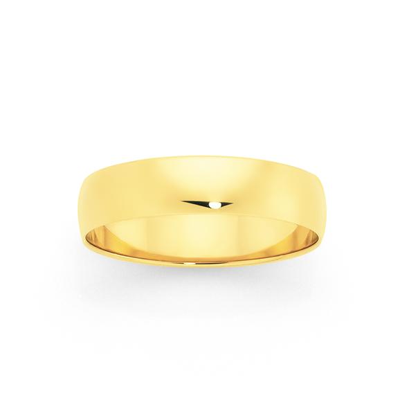 9ct Gold 5mm Half Round Wedding Ring - Size V