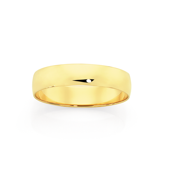 9ct Gold 5mm Half Round Wedding Ring - Size X