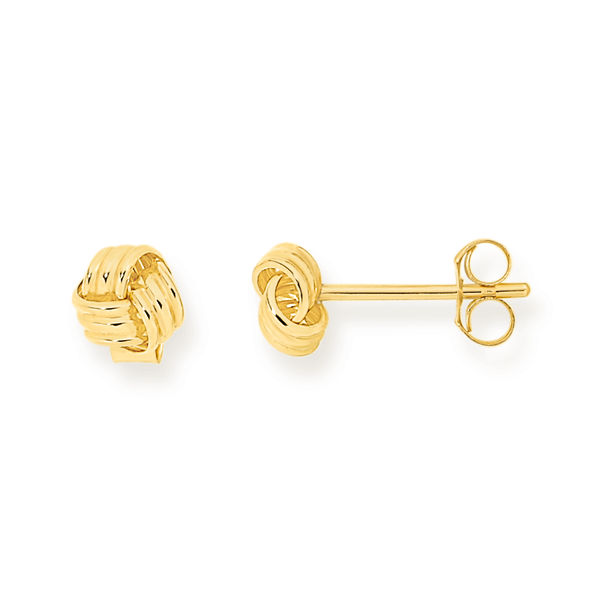 9ct Gold 5mm Knot Stud Earrings