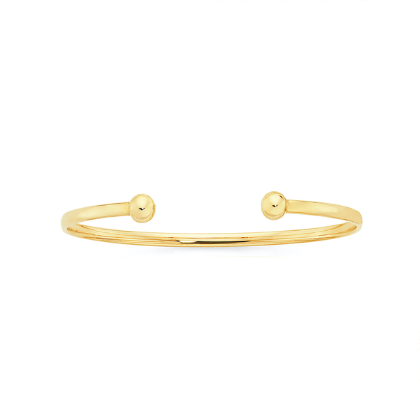 9ct Gold 60mm Hollow Oval Cuff Bangle
