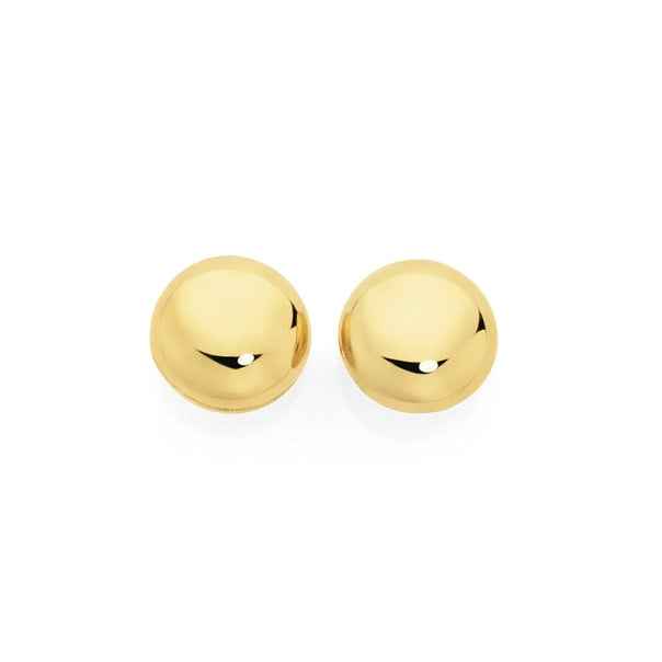 9ct Gold 6mm Button Stud Earrings