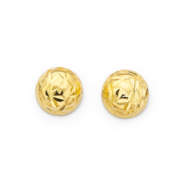 9ct Gold 6mm Dome Stud Earrings
