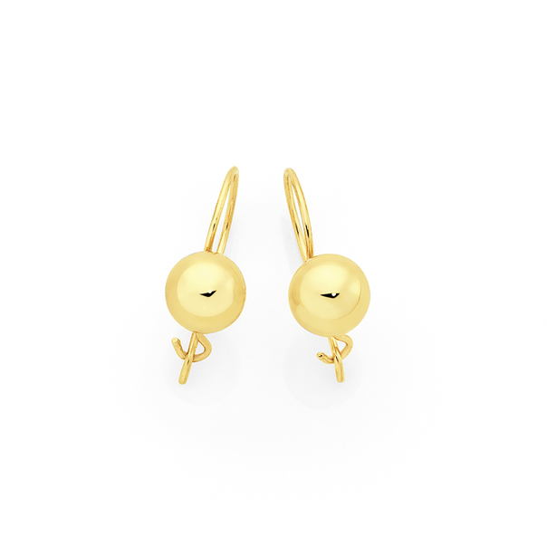 9ct Gold 6mm Euroball Earrings