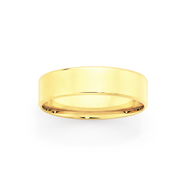 9ct Gold 6mm Flat Bevelled Wedding Ring - Size R