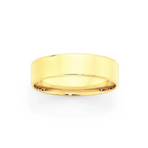 9ct Gold 6mm Flat Bevelled Wedding Ring - Size V