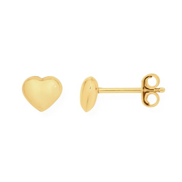 9ct Gold 6mm Heart Stud Earrings