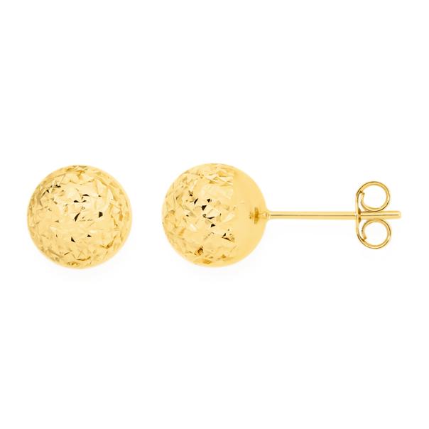 9ct Gold 8mm Diamond-cut Ball Stud Earrings