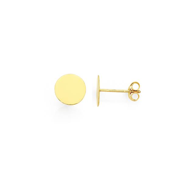 9ct Gold 8mm Disc Stud Earrings