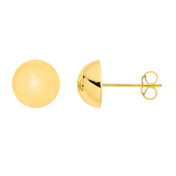 9ct Gold 8mm Dome Stud Earrings