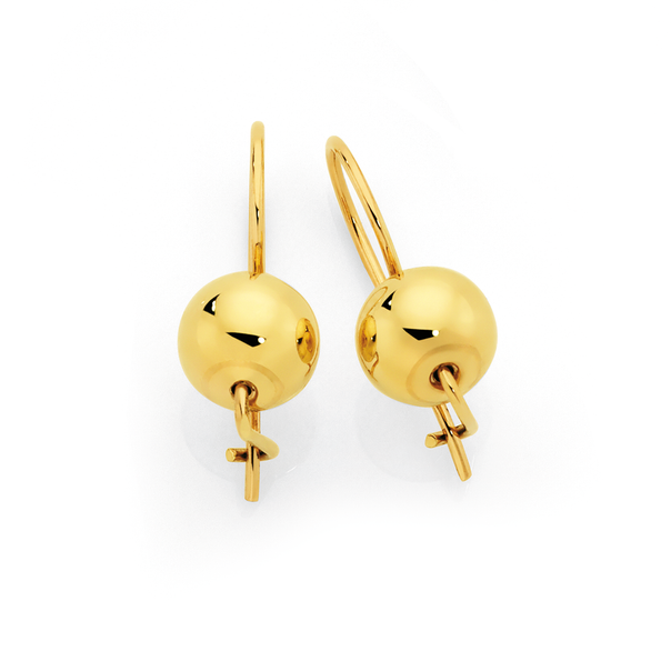 9ct Gold 8mm Euroball Earrings
