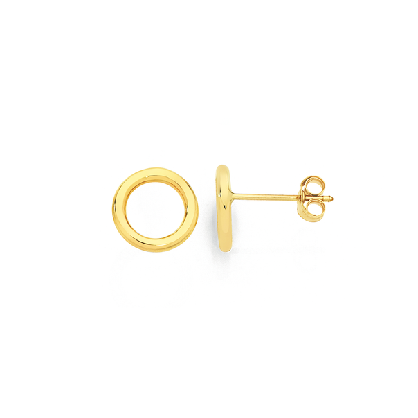9ct Gold 8mm Open Circle Stud Earrings