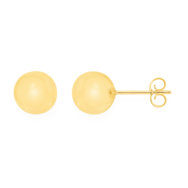 9ct Gold 8mm Polished Ball Stud Earrings
