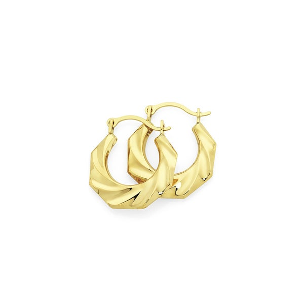 9ct Gold 8mm Twist Creole Earrinngs