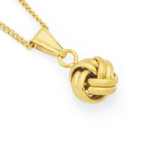 9ct Gold 9mm Double Knot Pendant