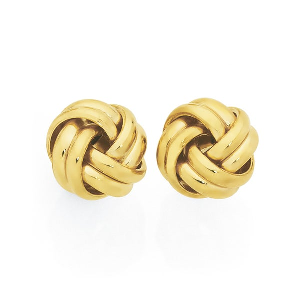 9ct Gold 9mm Double Knot Stud Earrings