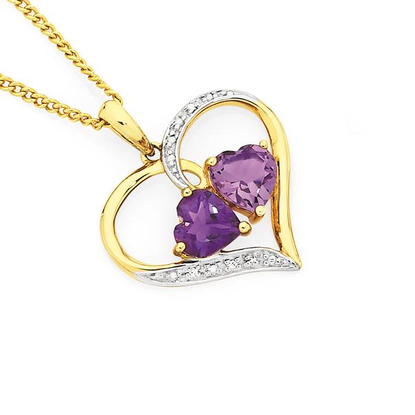9ct Gold Amethyst & Diamond Double Heart Open Heart Pendant