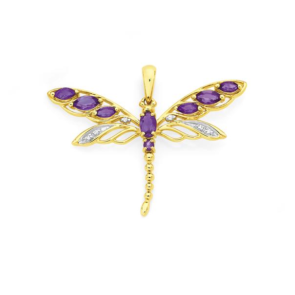9ct Gold Amethyst & Diamond Filigree Dragonfly Pendant