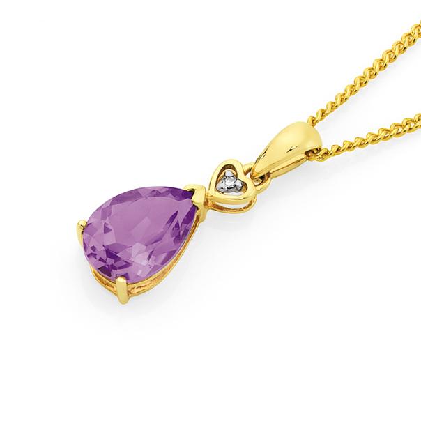 9ct Gold Amethyst & Diamond Pear Shape Pendant