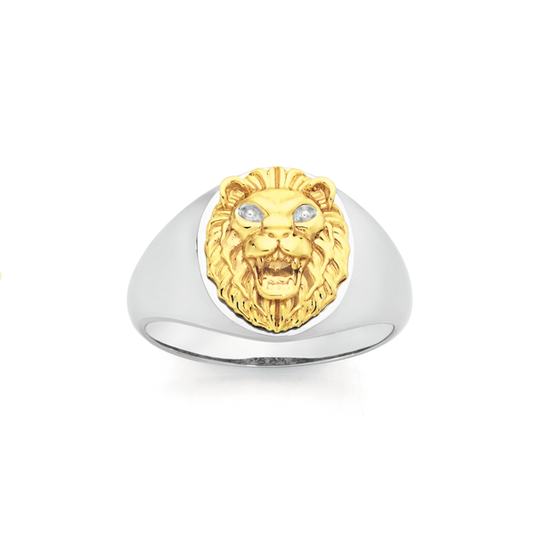 9ct Gold and Silver Lion Head Gents Ring