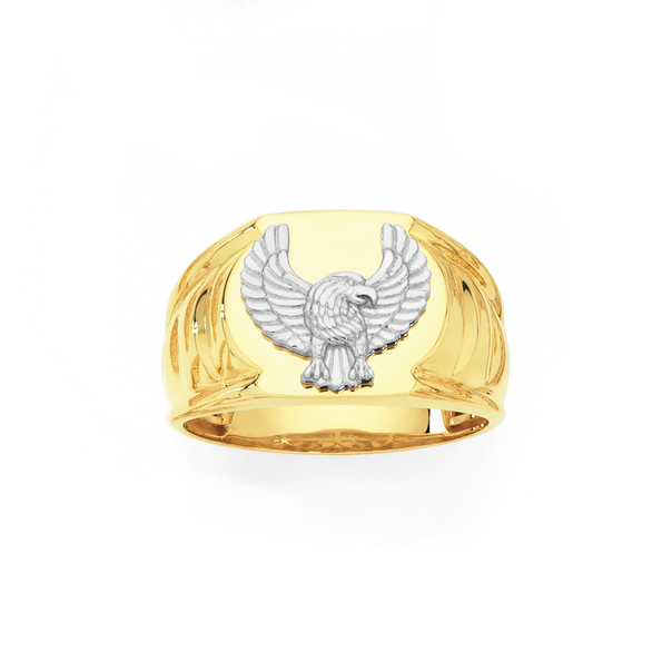 9ct Gold and Sterling Silver Eagle Oval Signet Ring
