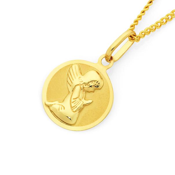 9ct Gold Angel Disc Pendant
