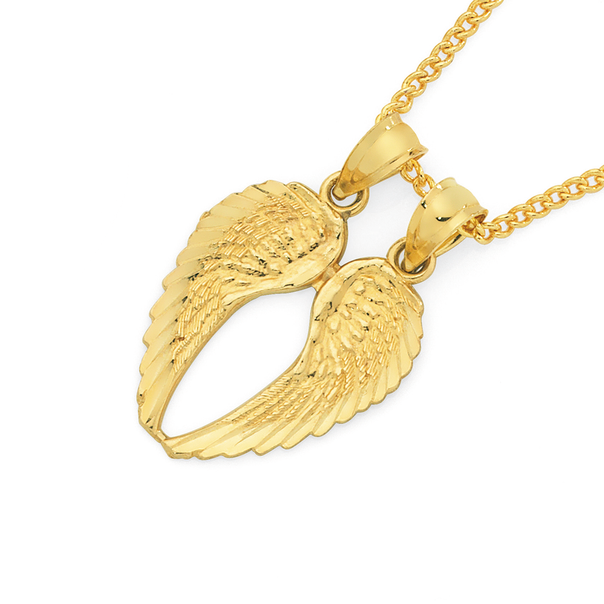 9ct Gold Angel Wings Share Pendant