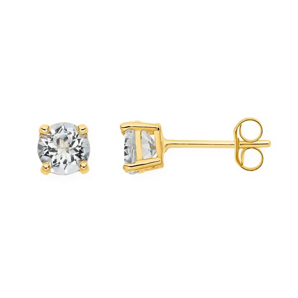 9ct Gold Aquamarine Stud Earrings