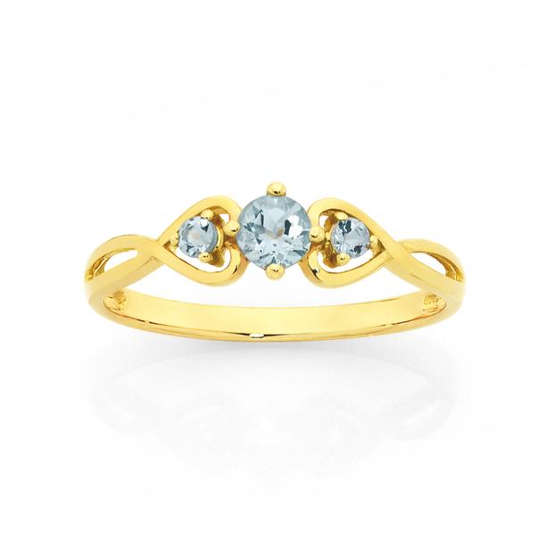 9ct Gold Aquamarine Twist Heart Ring
