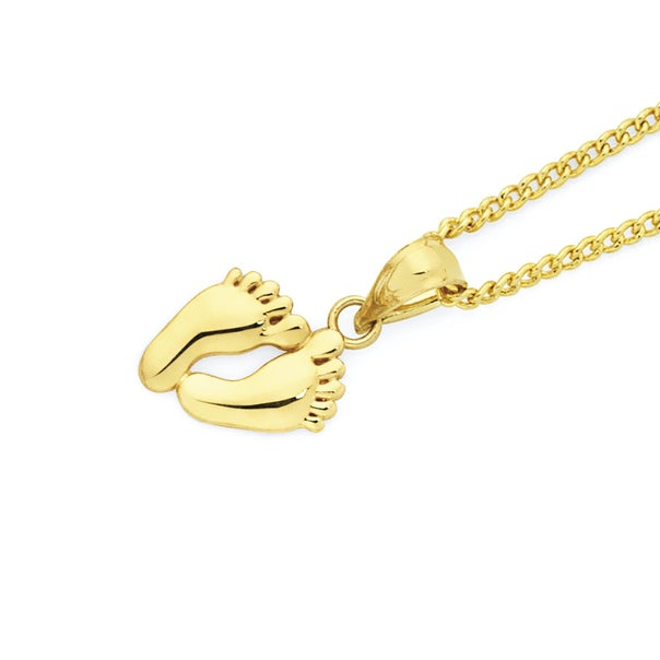 9ct Gold Baby Footprints Pendant