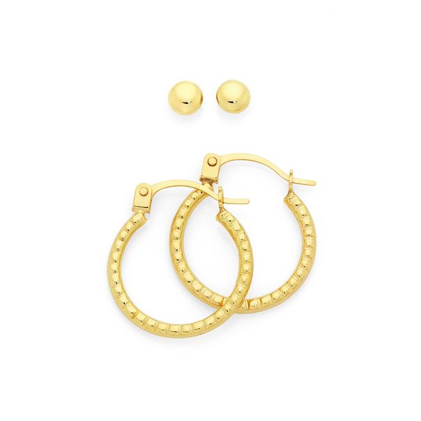 9ct Gold Ball Stud & Hoop Earrings Set