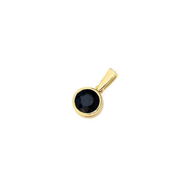 9ct Gold Black Sapphire Bezel Set Pendant