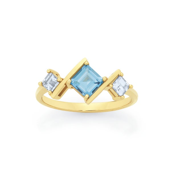 9ct Gold Blue Topaz Angled Trilogy Ring