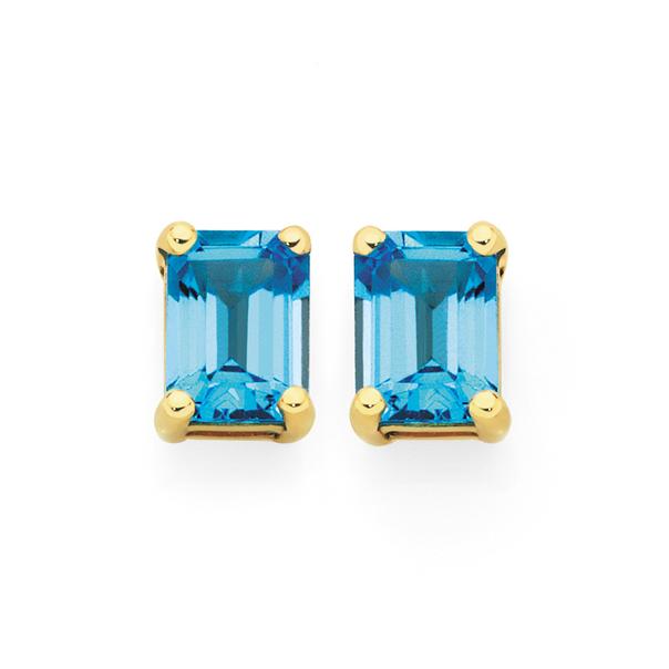 9ct Gold Blue Topaz Emerald Cut Claw Set Stud Earrings