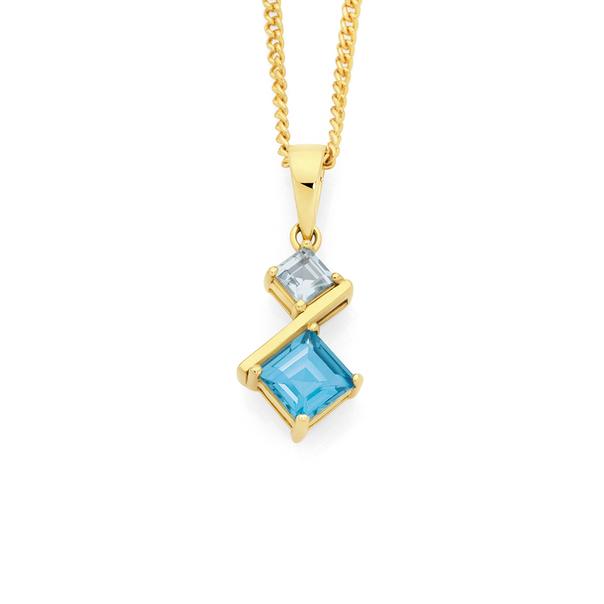9ct Gold Blue Topaz Offset Angled Pendant