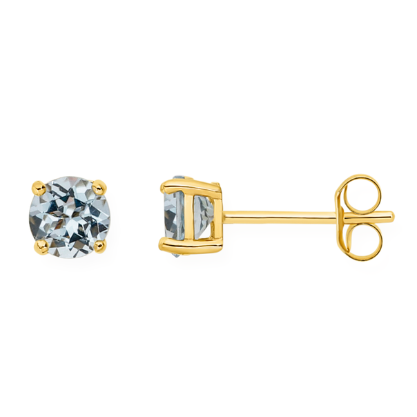 9ct Gold Blue Topaz Stud Earrings