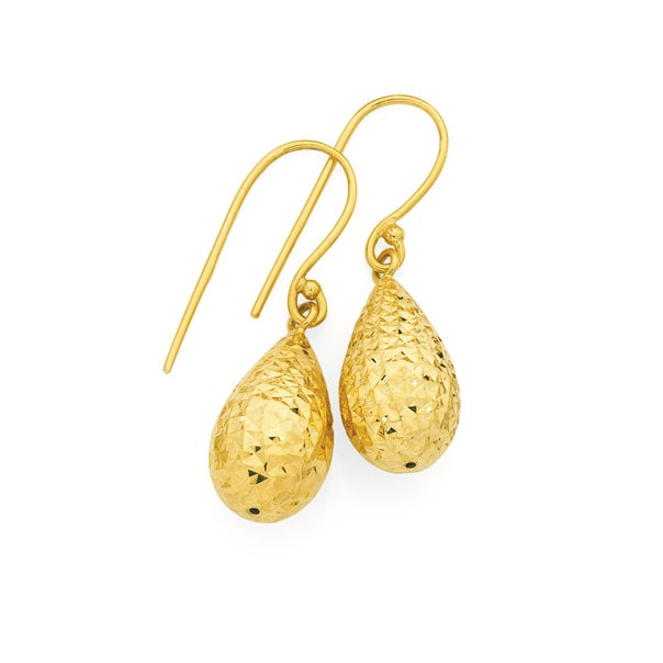 9ct Gold Bomber Drop Earrings
