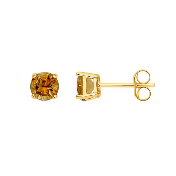 9ct Gold Citrine 5mm Stud Earrings