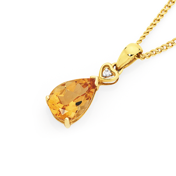 9ct Gold Citrine & Diamond Heart Detail Drop Pendant