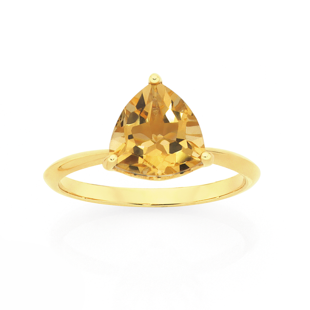 9ct Gold Citrine Solitaire Ring