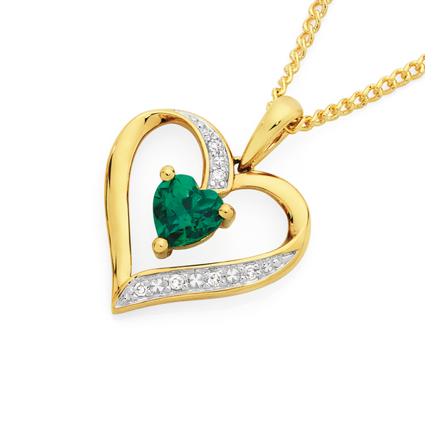 9ct Gold Created Emerald & Diamond Heart Pendant