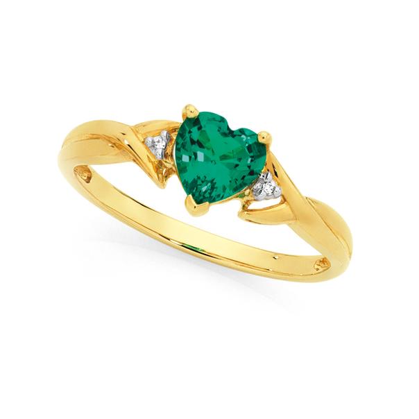 9ct Gold Created Emerald & Diamond Heart Ring