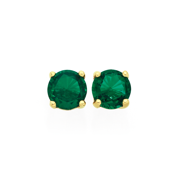 9ct Gold Created Emerald Round Stud Earrings